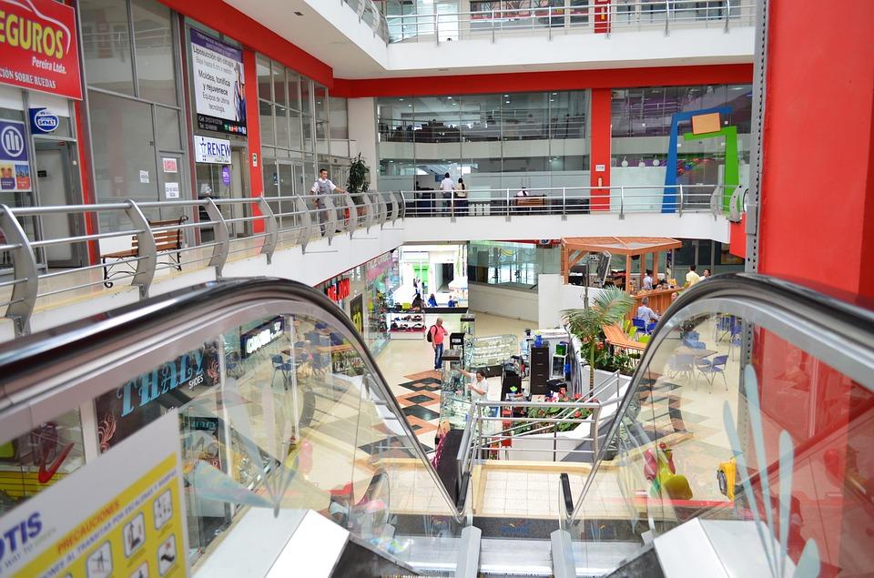 centro comercial, tiendas, escalera mecánicas